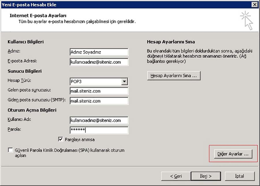 Outlook 2007 Ayarları