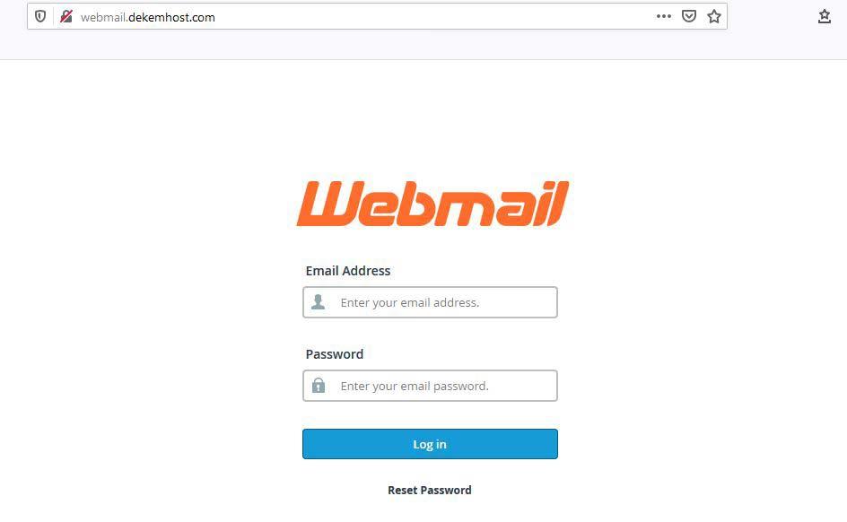 Webmail Giriş Ekranı - Standart E-Mail Hizmetinde