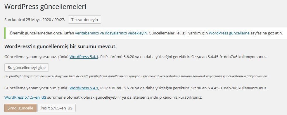 WordPress web sitesi güncelleme ve bakım bildirimleri