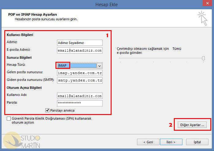 Yandex  IMAP Hesap Ayarları