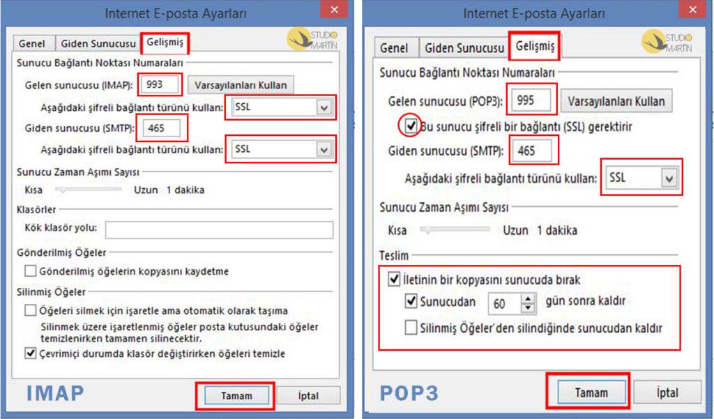 Outlook Kurulumu - Gelişmiş Sekmesi Ayarları - POP3 ve IMAP Hesap Türü Ayarları