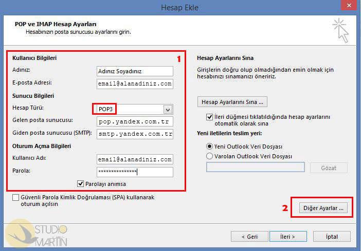 Yandex POP 3 Hesap Ayarları