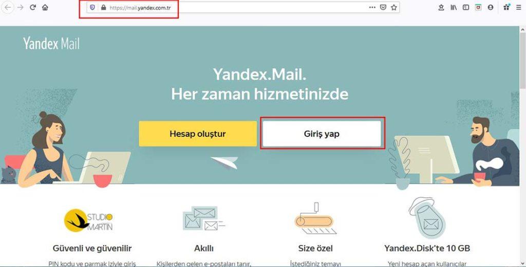 Yandex Web Mail adresi olan mail.yandex.com.tr yi ziyaret edin giriş yap'a tıklayın.