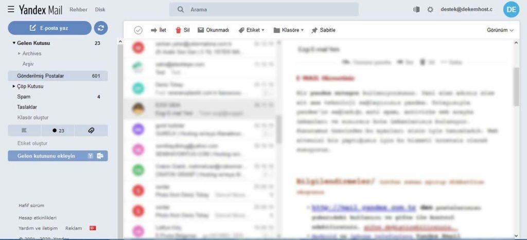 Yandex Web Mail Arayüzü